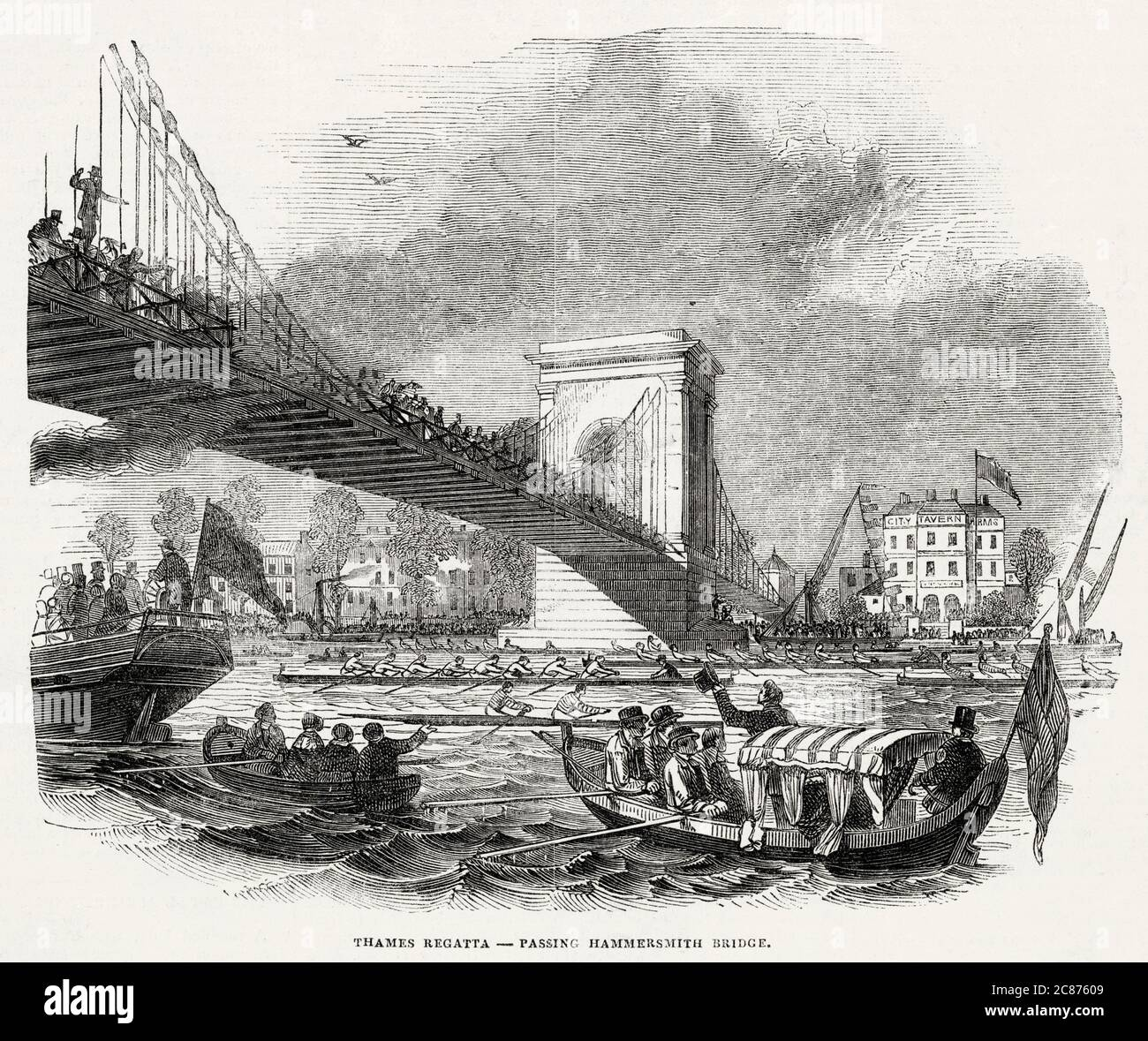 Barcos de remo pasando por el puente Hammersmith. Fecha: 1846 Foto de stock