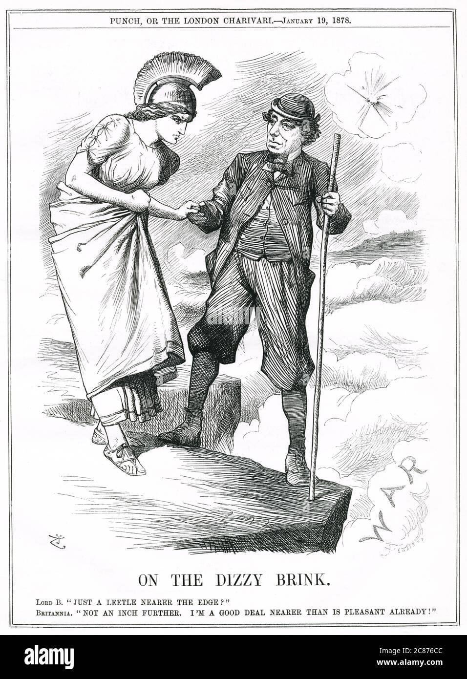 Dibujos animados, en el Dinizzy Brink -- Benjamin Disraeli lleva a una Britannia muy reacia al borde de la guerra, enviando barcos británicos a Constantinopla, arriesgando conflicto con las fuerzas rusas. Fecha: 1878 Foto de stock