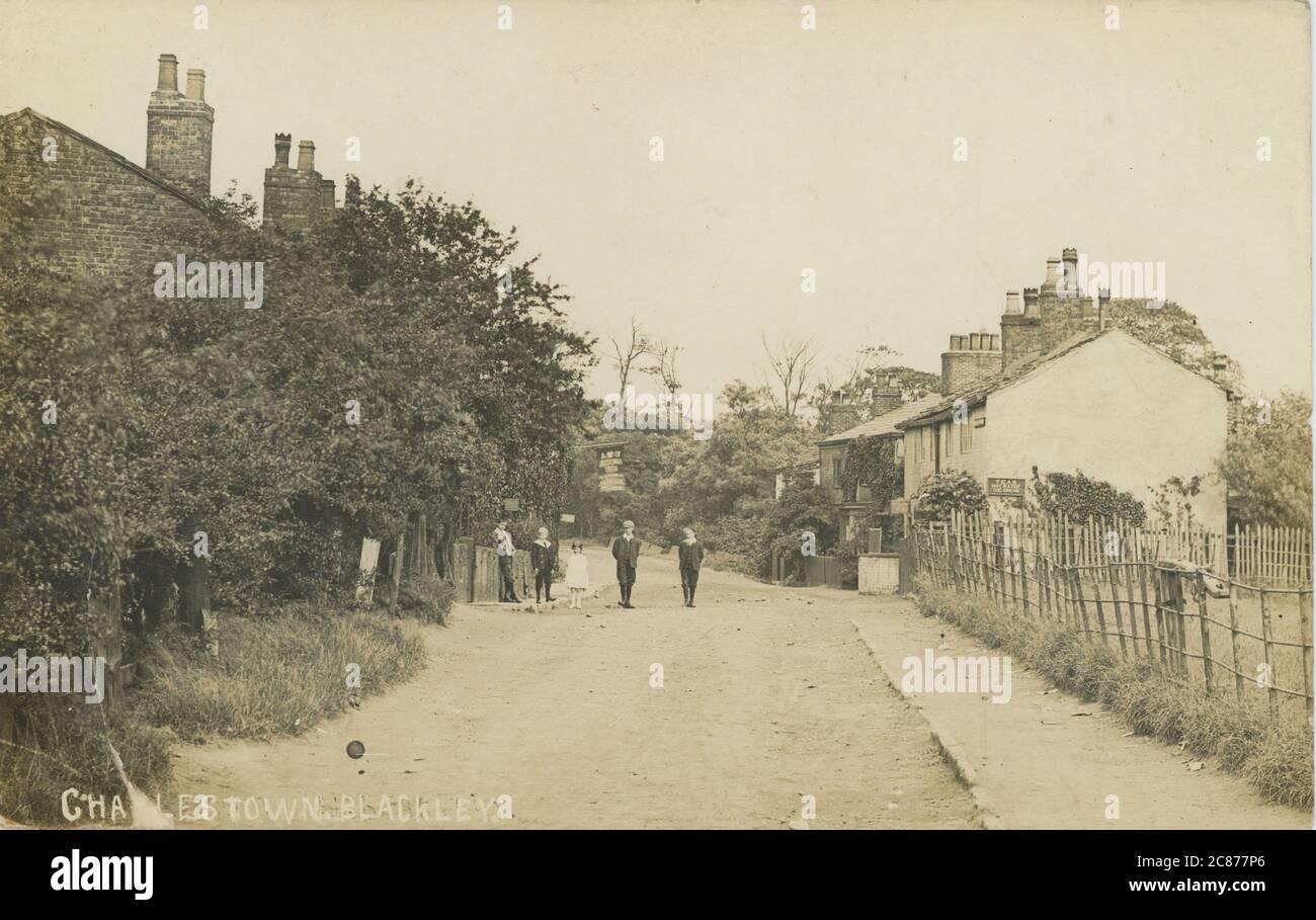The Tea Rooms, Charlestown, Blackley, Manchester, Lancashire, Inglaterra. Fecha: 1908 Foto de stock