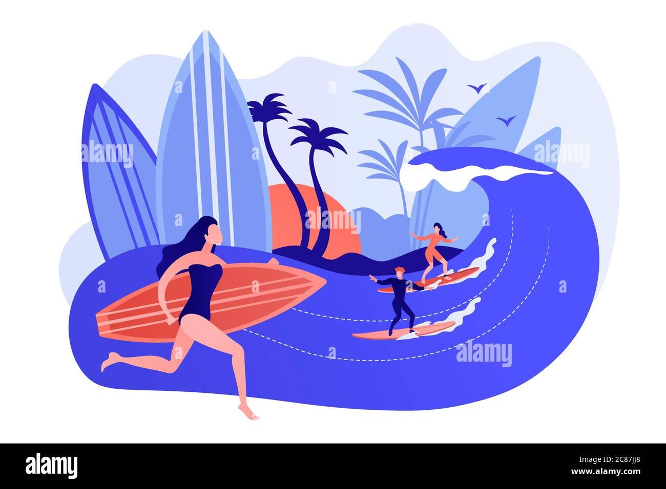 Ilustración vectorial del concepto de escuela de surf. Ilustración del Vector