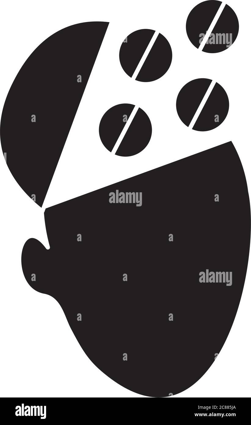 concepto de salud mental, cabeza con mente abierta y pastillas icono sobre fondo blanco, estilo silueta, ilustración vectorial Ilustración del Vector