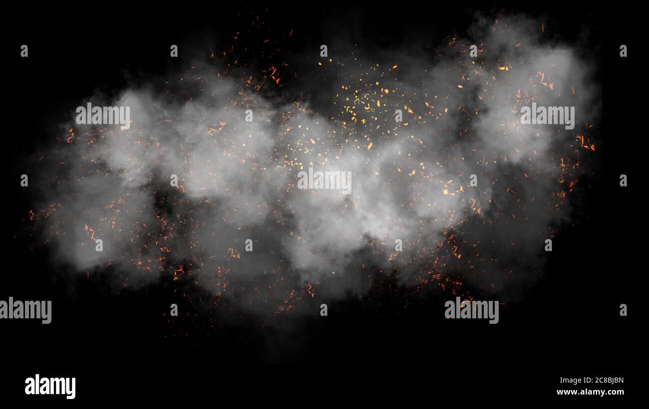 Partículas de fuego efecto polvo desechos aislados sobre fondo negro, polvo de movimiento spray ráfaga. Elemento de diseño Foto de stock
