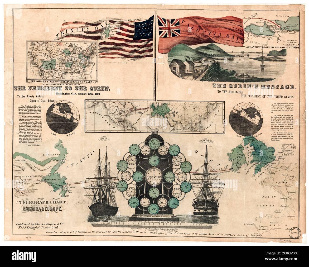 Infografía vintage que muestra la ruta del primer cable telegráfico Transatlántico submarino a través del Océano Atlántico, por Charles Magnus & Co, 16 de agosto de 1858 Foto de stock