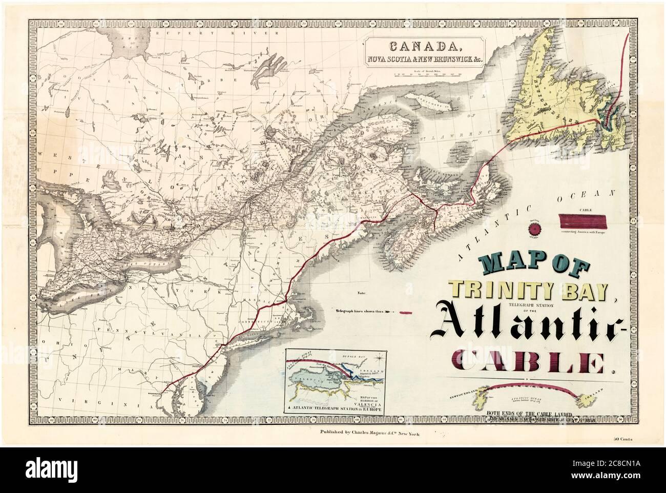 Mapa de Trinity Bay, Terranova, la Estación de Telégrafos del cable Transatlántico a través del Océano Atlántico, 1858 Foto de stock