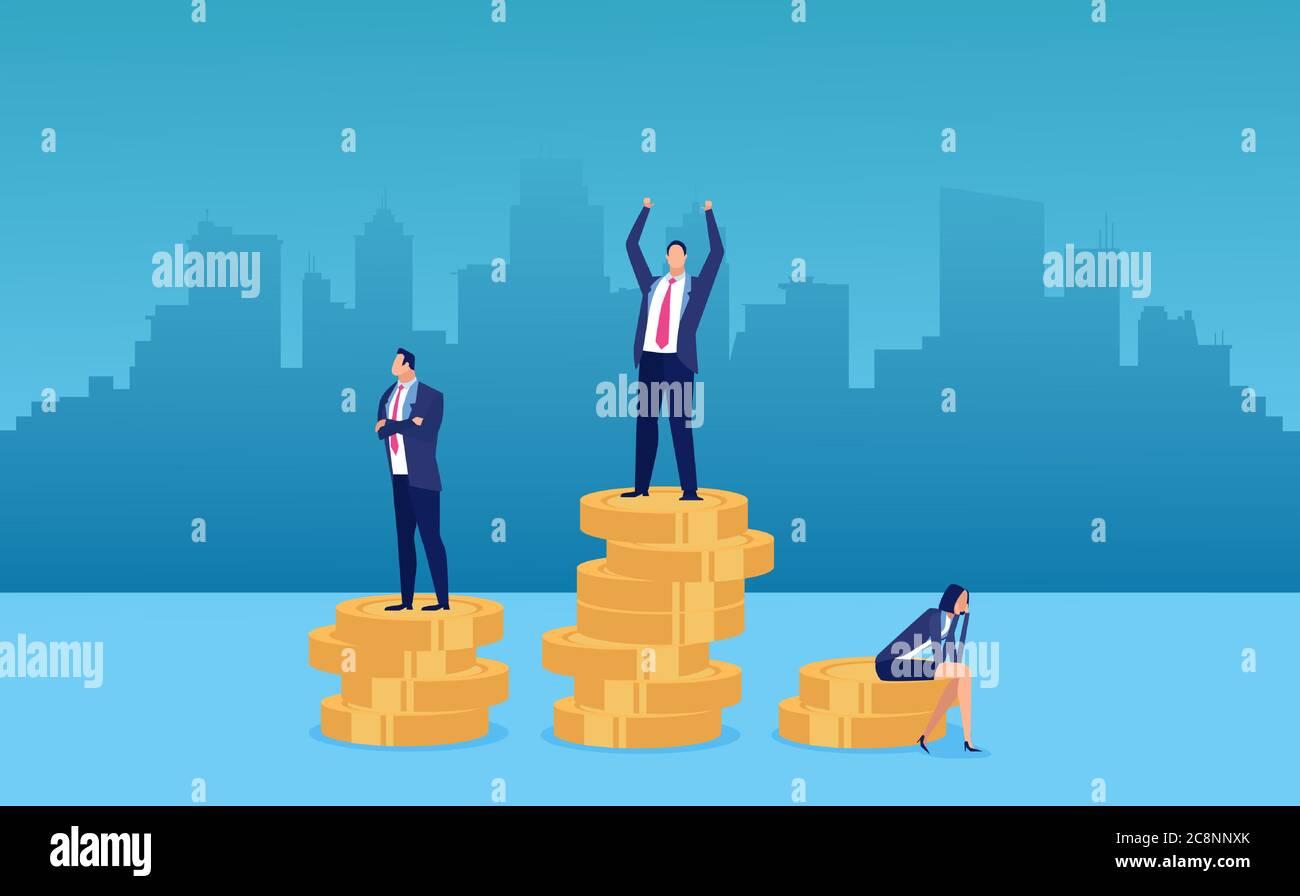 Concepto de diferencia salarial y brecha de género para empleados. Vector de una empresaria que es recompensada lo menos posible Ilustración del Vector