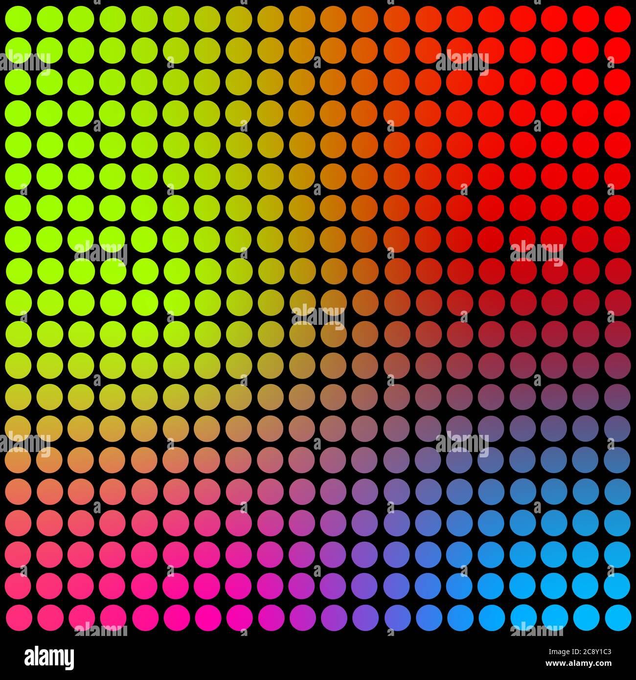 Círculos de color neón en la textura de fondo cuadrado de tamaño grande y negro. Fondo de pantalla de arte abstracto. Póster retro de arte contemporáneo. Foto de stock