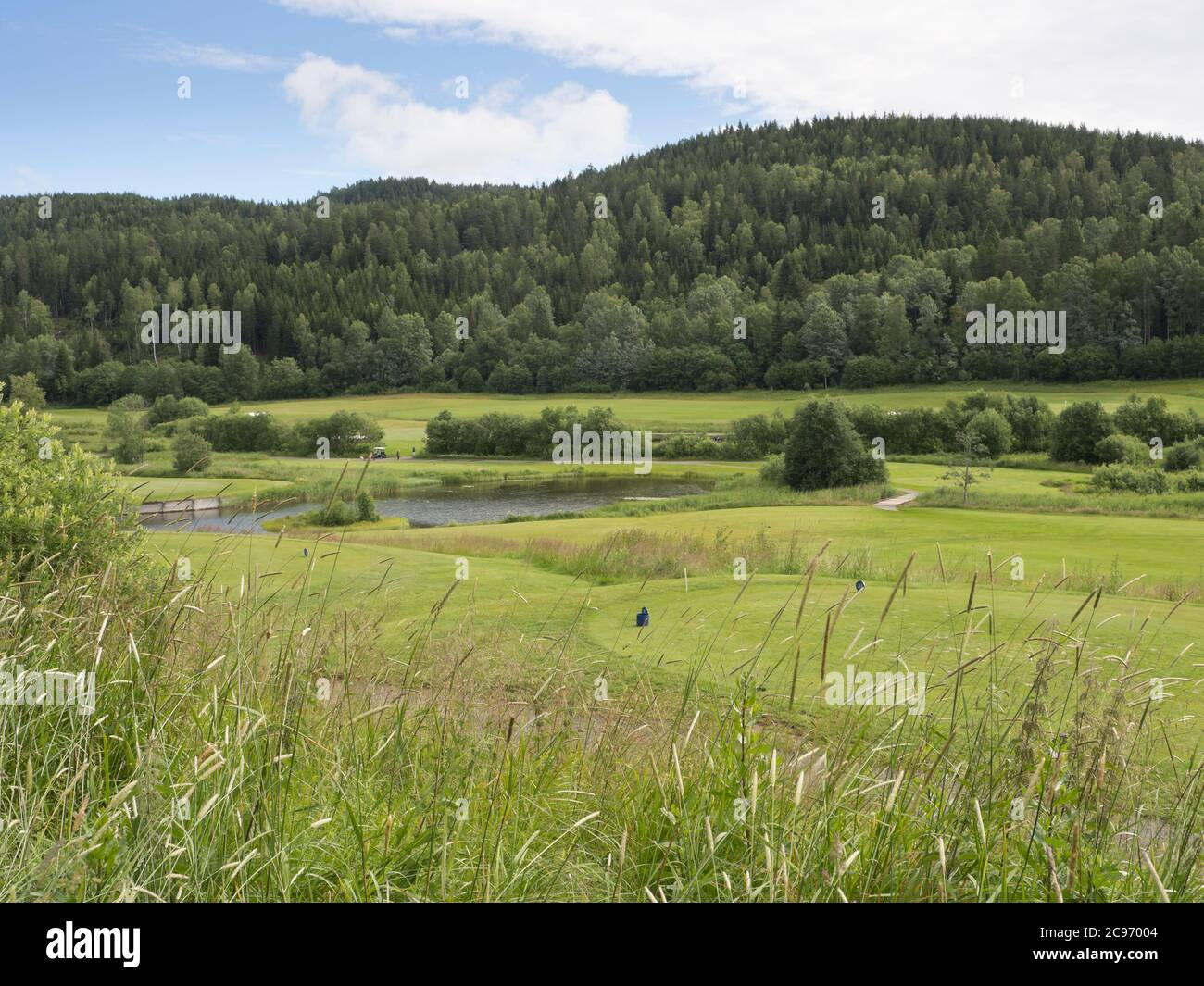 Losby Golfklubb, uno de los varios campos de golf esparcidos alrededor de la capital Noruega Oslo en paisajes idílicos en el borde del bosque Foto de stock