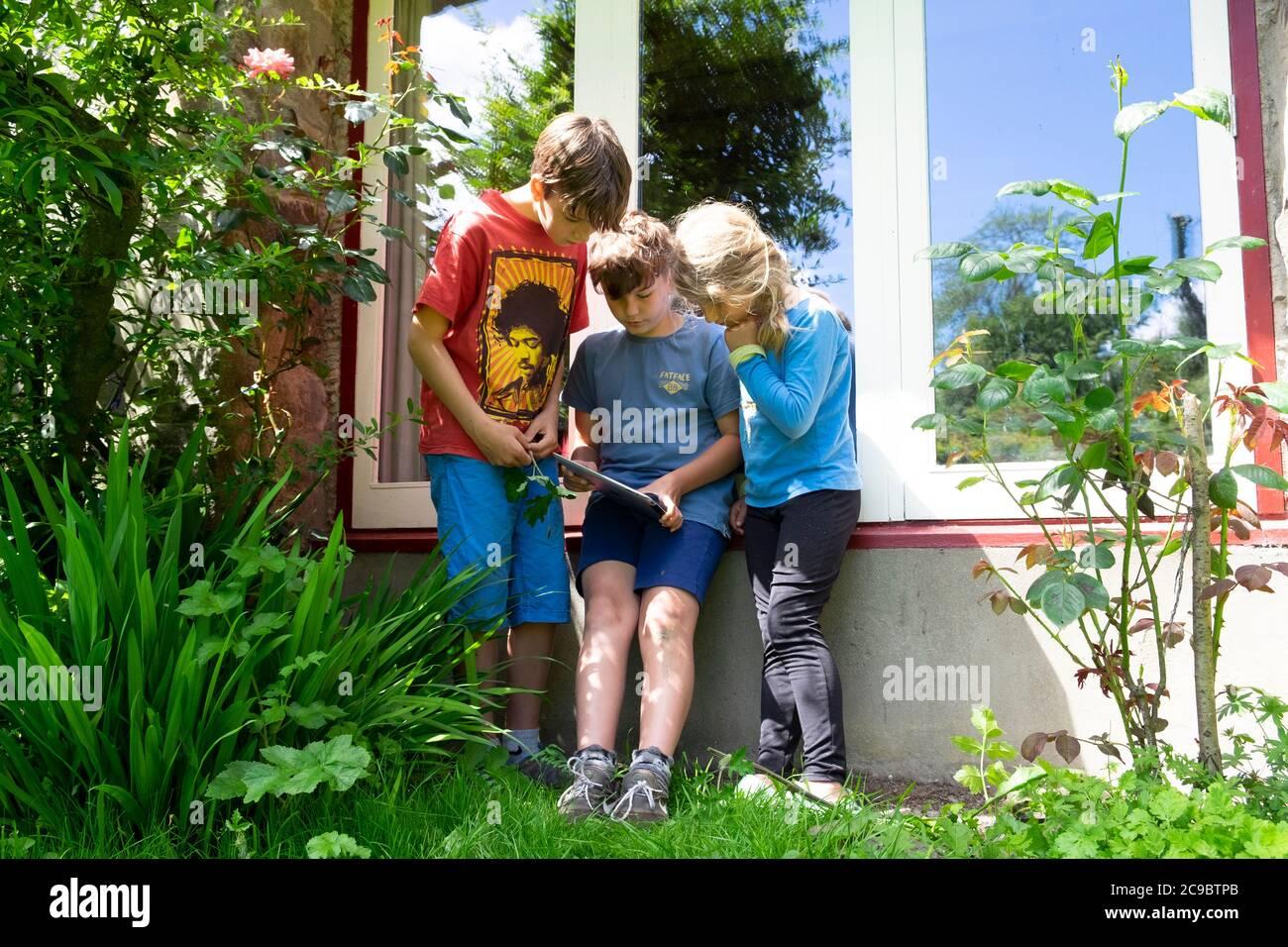 Niños niños niños amigos jugando a ipad en la estaycation en el campo después de Covid 19 cierre se ha aliviado Carmarthenshire Wales Reino Unido KATHY DEWITT Foto de stock