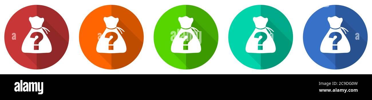 Conjunto de iconos de Riddle, rojo, azul, verde y naranja botones de diseño plano aislados sobre fondo blanco, ilustración vectorial Ilustración del Vector