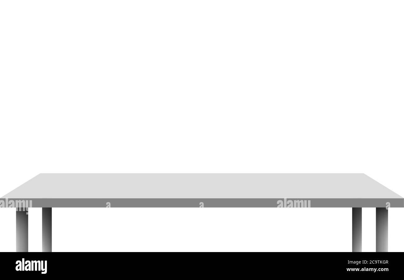 mesa cuadrada blanca sobre fondo blanco Ilustración del Vector