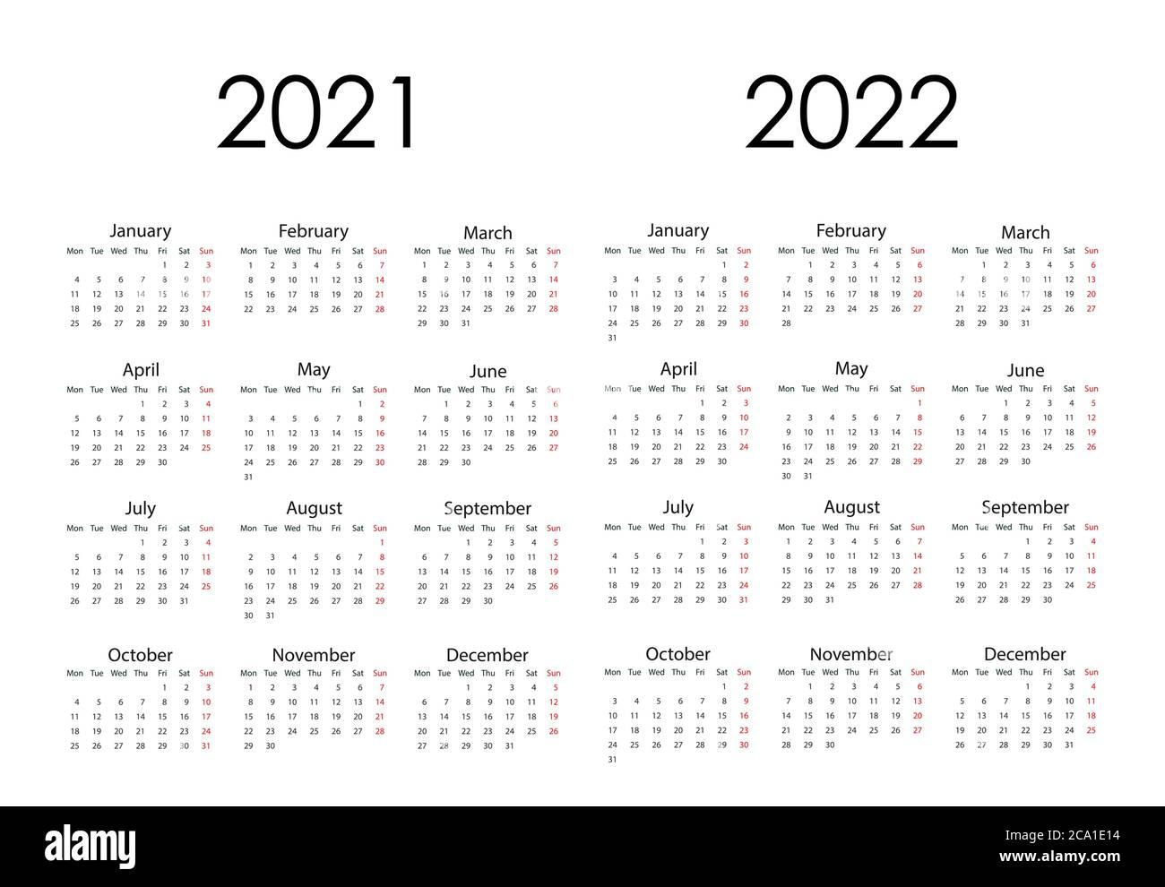 Calendario 2021-2022-2021 Calendario 2021 2022 Imágenes recortadas de stock   Alamy