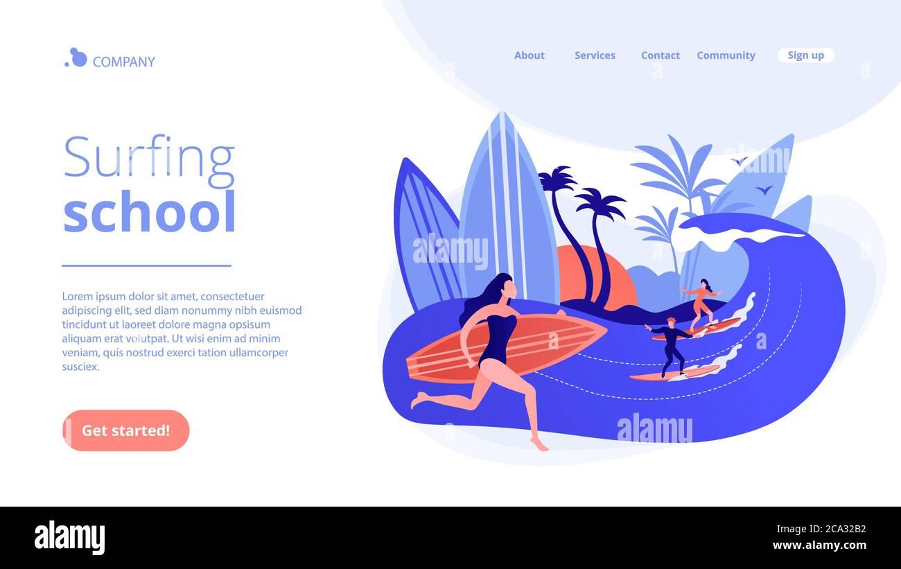 Página de aterrizaje del concepto de escuela de surf. Ilustración del Vector
