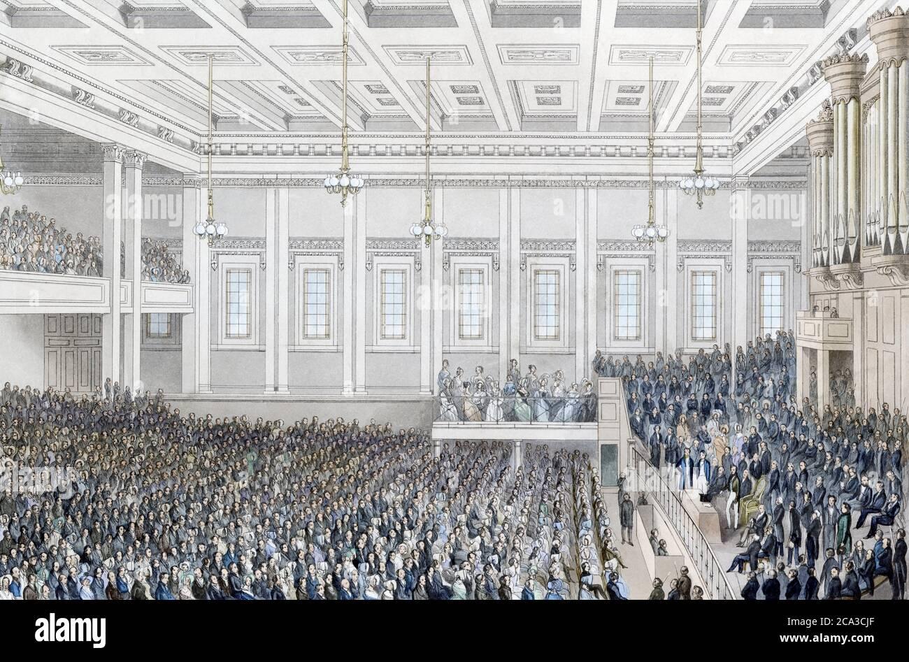 El título completo que aparece debajo de la imagen de esta reunión de Londres contra la esclavitud dice: Reunión de la Sociedad para la extinción de la trata de esclavos, y para la Foto de stock
