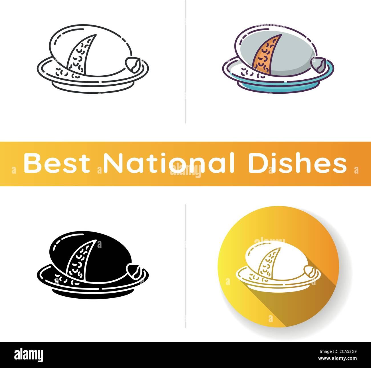 Icono de Haggis. Comida escocesa sabrosa. Receta nacional de pudín. Plato cocinado en el estómago animal. Receta con hígado de oveja y pulmones. Lineal negro y RGB col Ilustración del Vector
