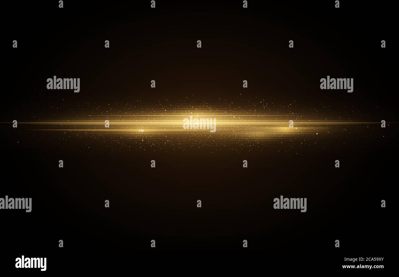 Efecto de luz hecho de líneas de neón de color naranja brillante. Efecto futurista del escáner con partículas de destellos. Metraje elegante para tu proyecto. Vector Illustrati Ilustración del Vector