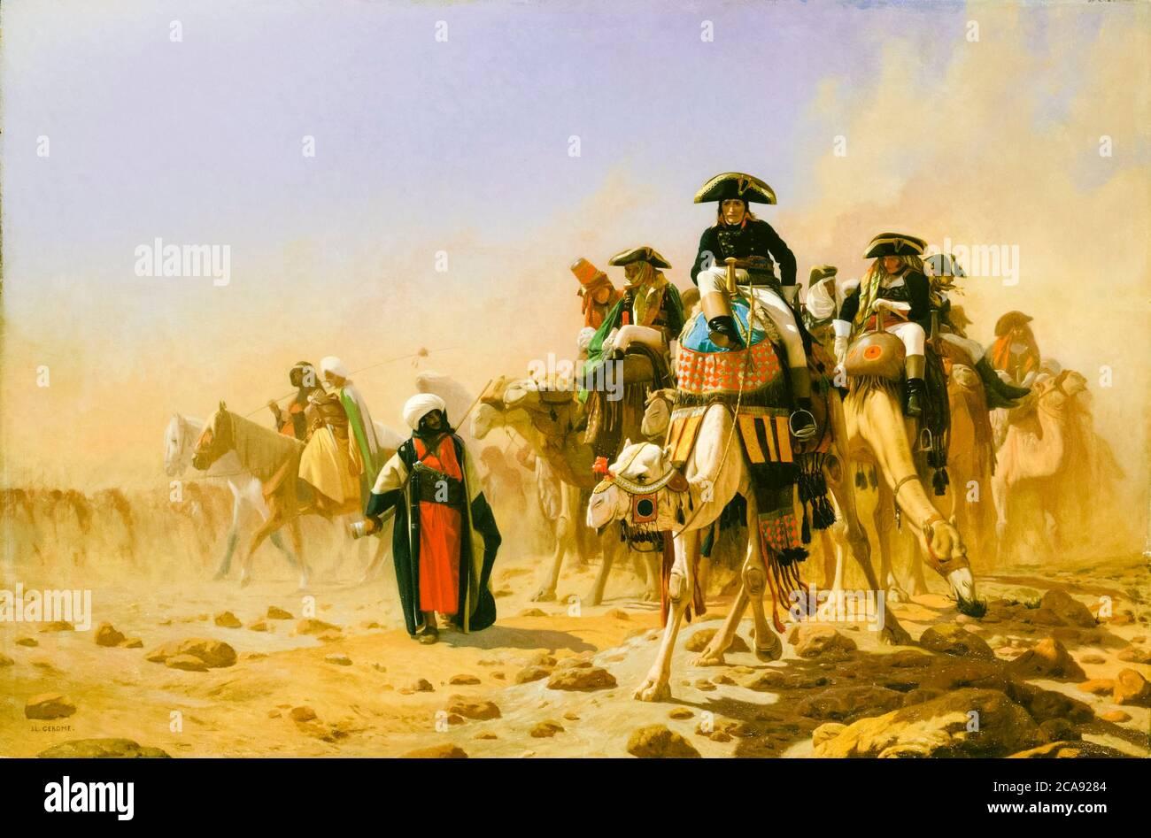 Napoleón Bonaparte y su personal militar en Egipto, pintura de Jean Léon Gérôme, 1863 Foto de stock