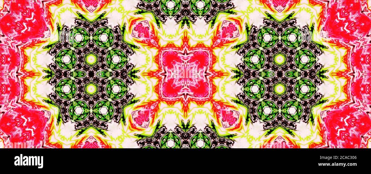 Rosa y amarillo sombreado fondo sin costuras patrón, repetición abstracto caleidoscopio forma fondo simétrico para el diseño gráfico Foto de stock