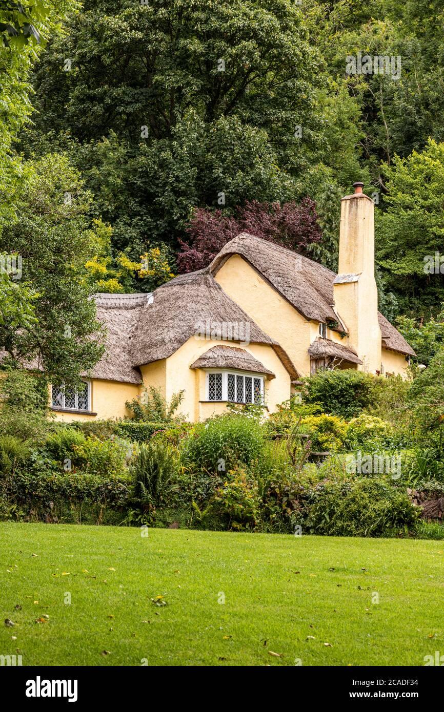 Parque Nacional Exmoor - una típica casa de campo de paja en el pueblo de Selworthy, Somerset Reino Unido Foto de stock