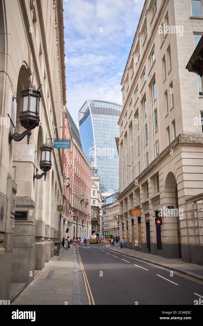 Una vista de la calle Lombard en la ciudad de Londres Foto de stock