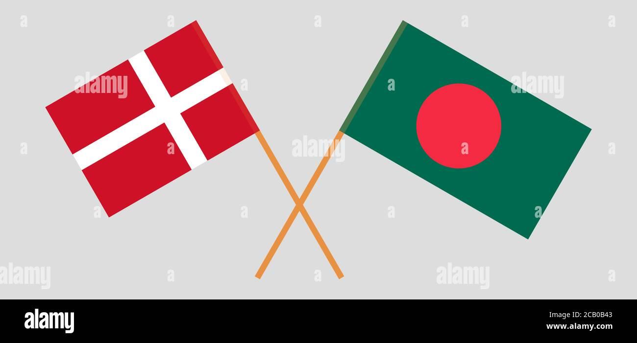 Banderas cruzadas de Bangladesh y Dinamarca. Colores oficiales. Proporción correcta. Ilustración vectorial Ilustración del Vector