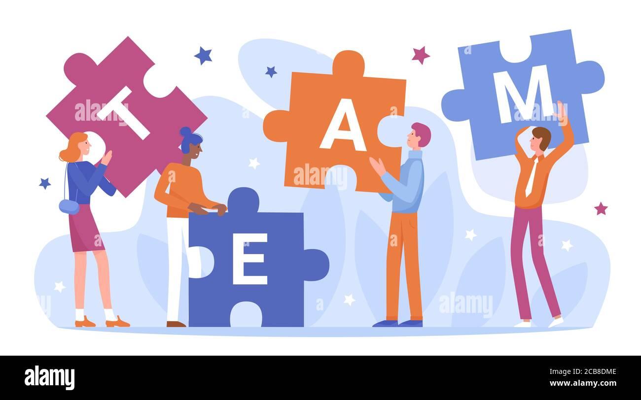 Trabajo en equipo de la gente de negocios conectar rompecabezas vector ilustración. Dibujos animados personajes de hombre de negocios planos sosteniendo y conectando piezas de rompecabezas, de pie junto a palabra de equipo, asociación aislada en blanco Ilustración del Vector