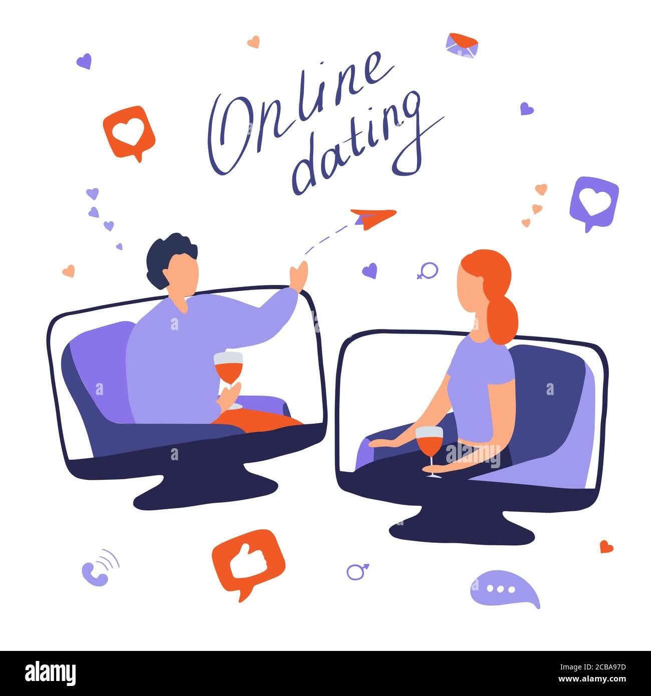 Concepto de citas en línea. Mujer joven y hombre hablando en línea. Pareja se reunió en el sitio de citas y comunicarse en Internet. Relaciones de larga distancia Ilustración del Vector