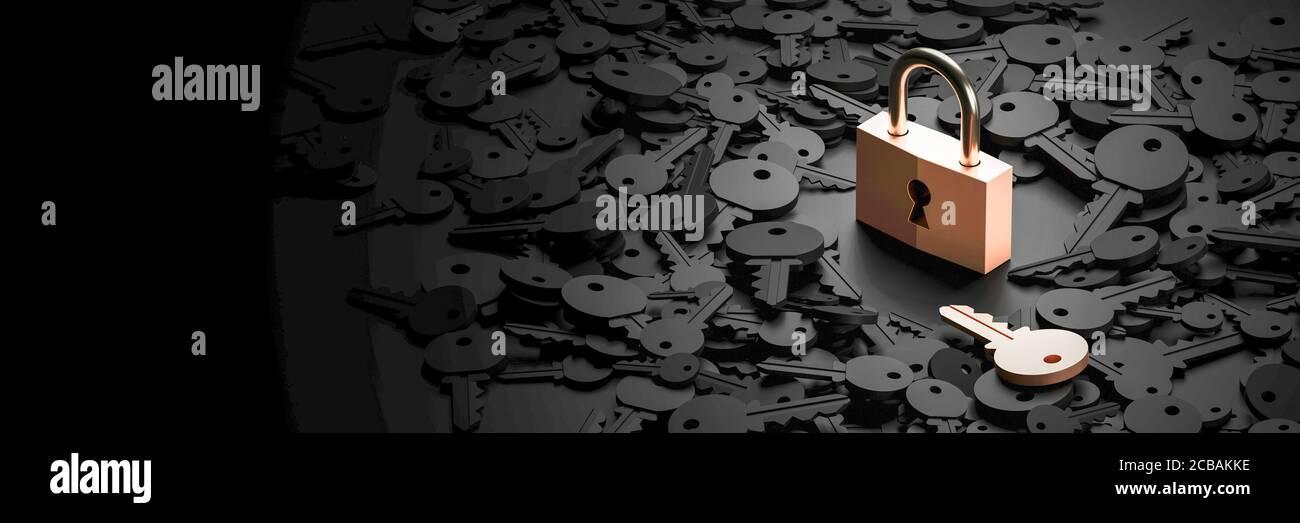 Candado con teclas infinitas, metáfora de problemas, soluciones y gestión de riesgos; renderizado 3d original Foto de stock