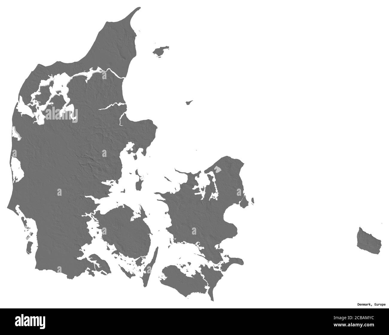 Forma de Dinamarca con su capital aislada sobre fondo blanco. Mapa de elevación en dos niveles. Renderizado en 3D Foto de stock