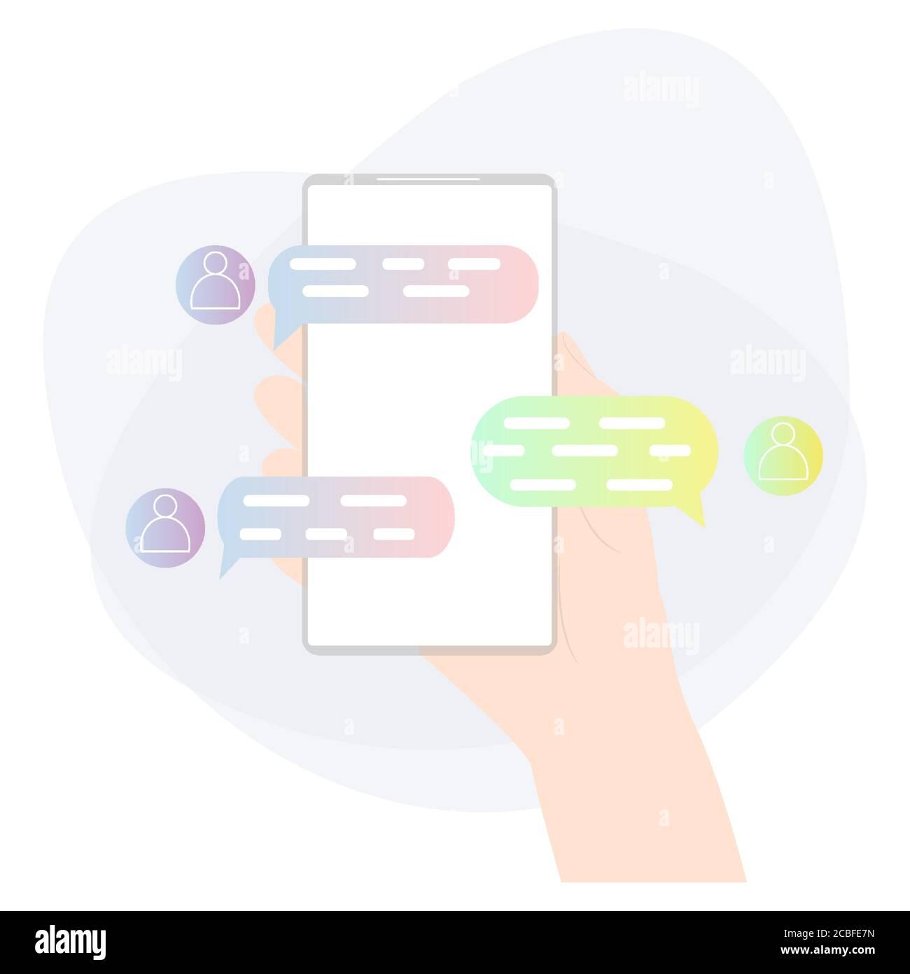 Con la mano sosteniendo el teléfono móvil y charlando. Chat en línea, aplicación de mensajería. Relaciones en la ilustración de vector-distancia Ilustración del Vector