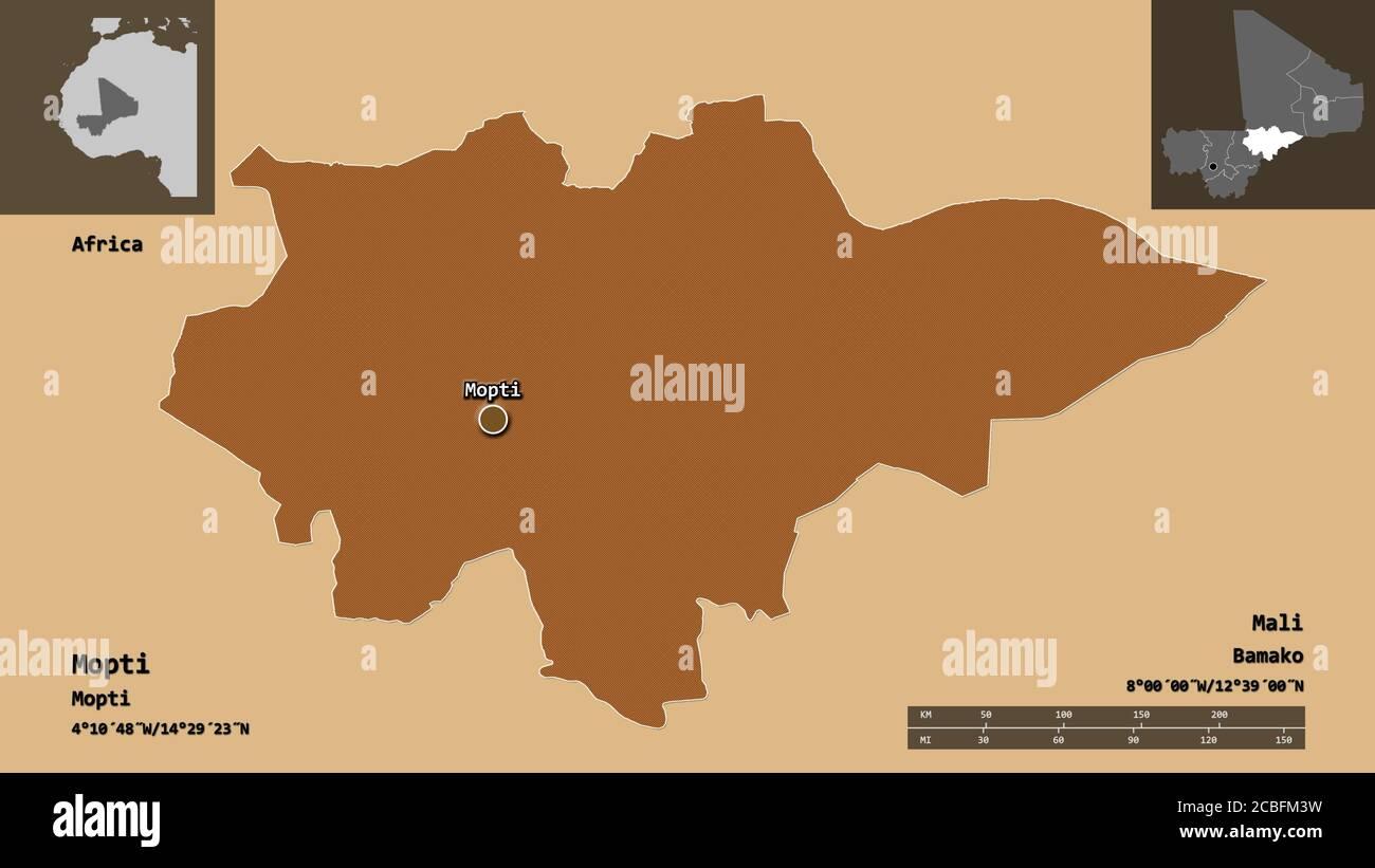 Forma de Mopti, región de Malí, y su capital. Escala de distancia, vistas previas y etiquetas. Composición de texturas estampadas regularmente. Renderizado en 3D Foto de stock