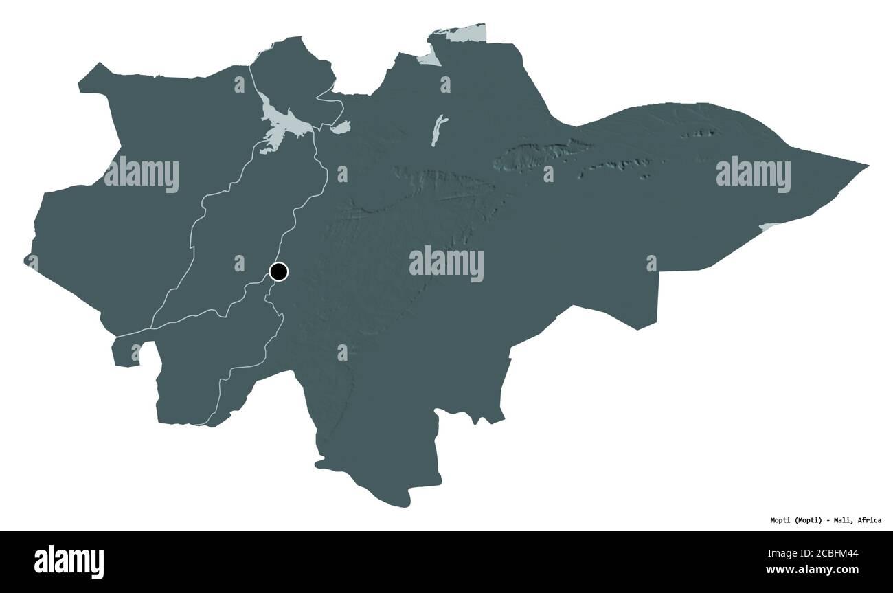 Forma de Mopti, región de Malí, con su capital aislada sobre fondo blanco. Mapa de altura en color. Renderizado en 3D Foto de stock