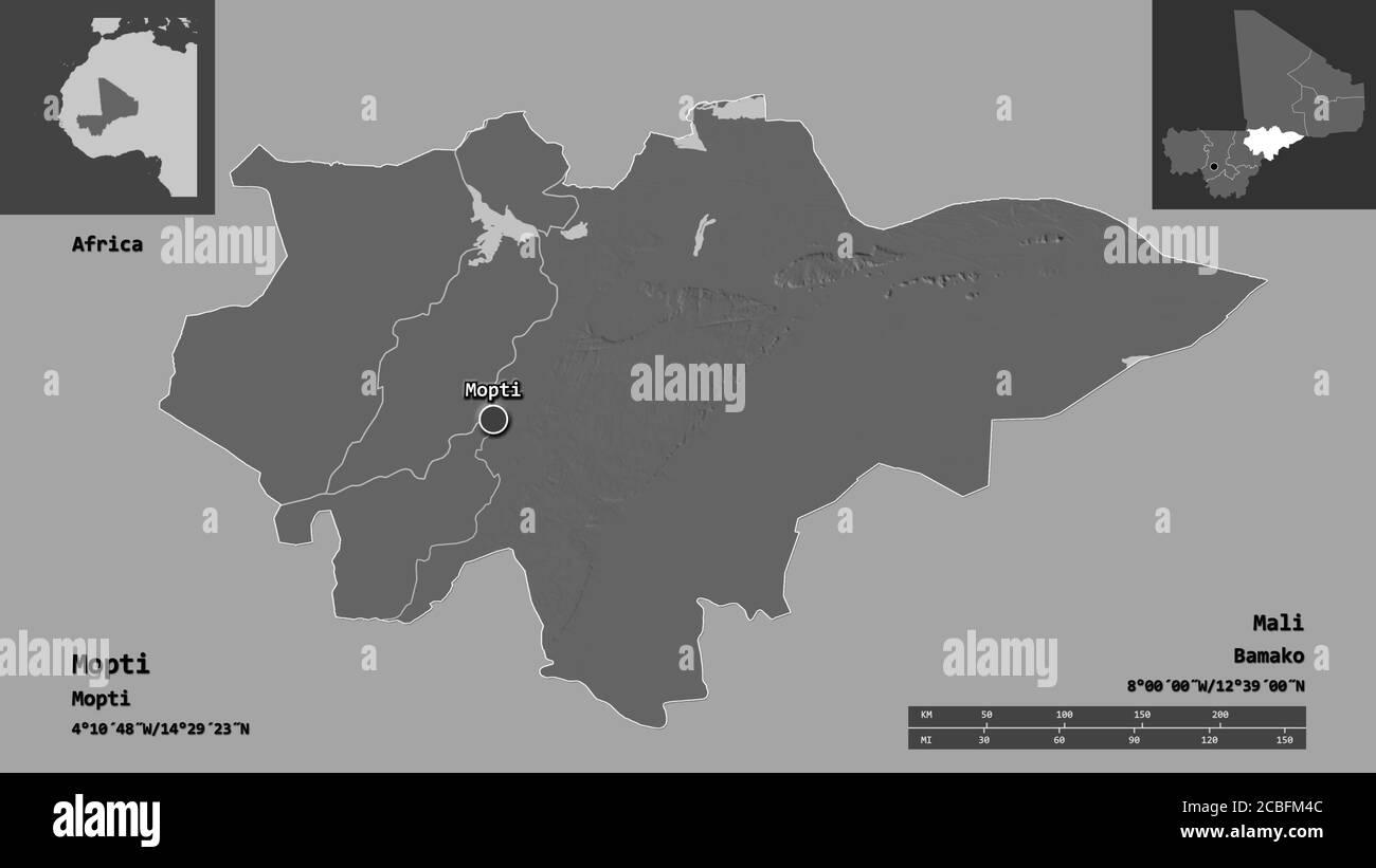 Forma de Mopti, región de Malí, y su capital. Escala de distancia, vistas previas y etiquetas. Mapa de elevación en dos niveles. Renderizado en 3D Foto de stock