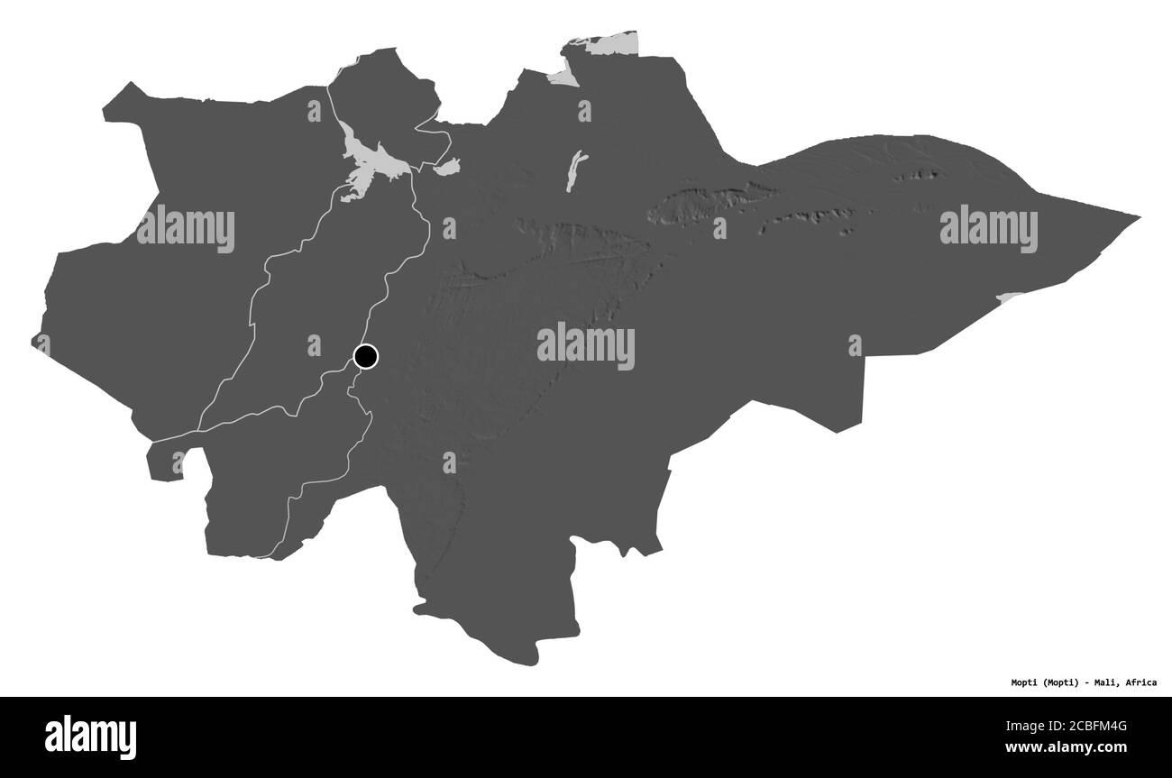 Forma de Mopti, región de Malí, con su capital aislada sobre fondo blanco. Mapa de elevación en dos niveles. Renderizado en 3D Foto de stock