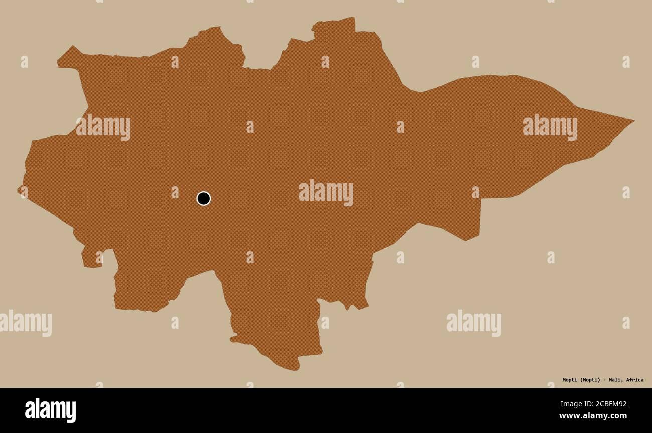 Forma de Mopti, región de Malí, con su capital aislada sobre un fondo de color sólido. Composición de texturas estampadas. Renderizado en 3D Foto de stock