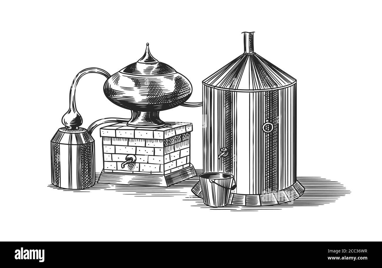 Alcohol destilado. Dispositivo para preparar tequila, coñac y licores. Grabado dibujo de la cosecha dibujado a mano. Estilo de madera. Ilustración vectorial para menú Ilustración del Vector