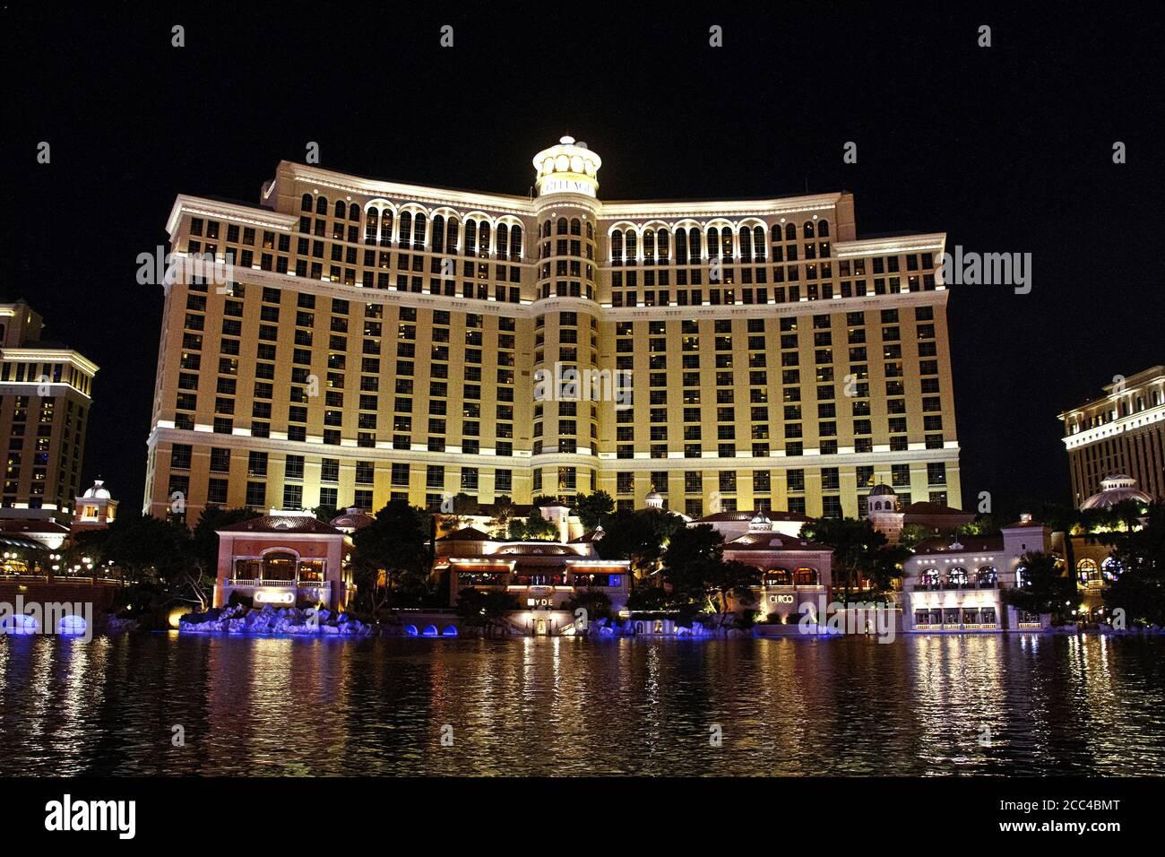 Las Vegas,NV/USA - Sep 16,2018 : Ver los hoteles y casinos de Bellagio en las Vegas, Estados Unidos. Las Vegas es uno de los mejores destinos turísticos del mundo. Foto de stock