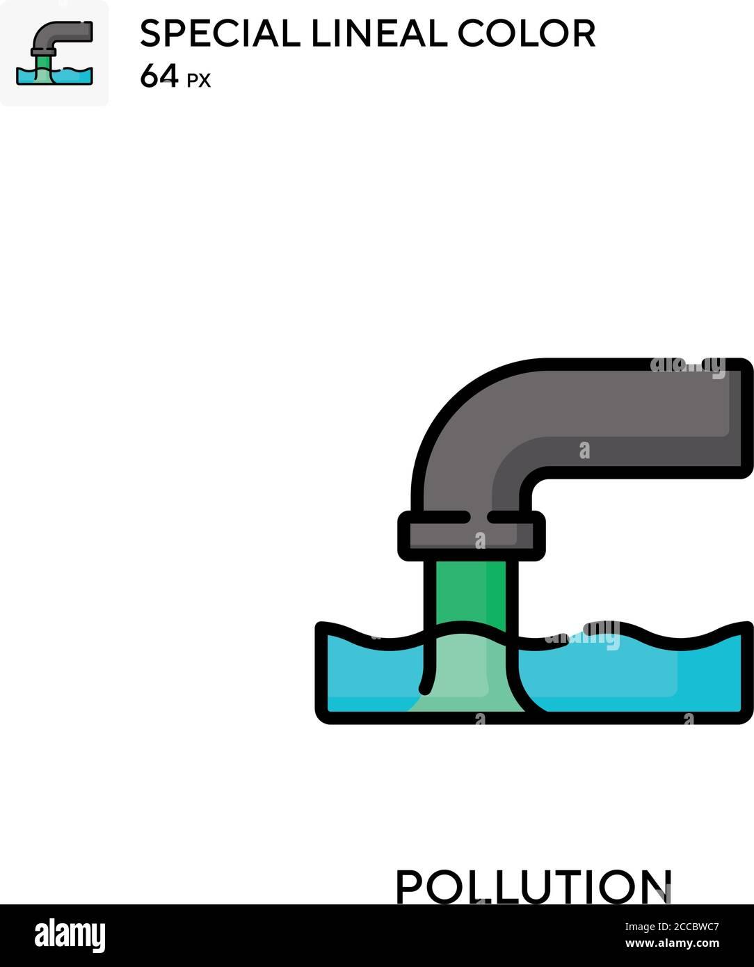 Contaminación icono de color lineal especial. Plantilla de diseño de símbolos de ilustración para elemento de interfaz de usuario móvil web. Pictograma moderno de color perfecto en trazo editable. Ilustración del Vector