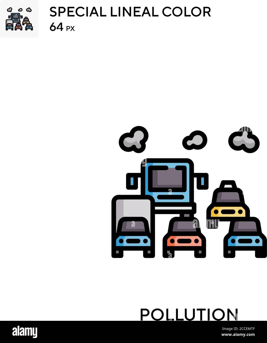 Contaminación icono de color lineal especial. Plantilla de diseño de símbolos de ilustración para elemento de interfaz de usuario móvil web. Ilustración del Vector