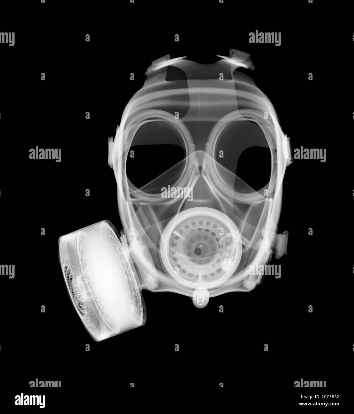 Máscara de gas, rayos X. Foto de stock