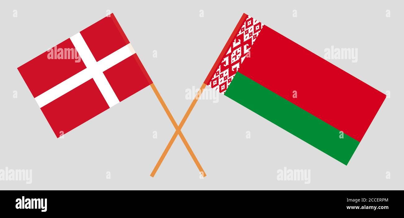Banderas cruzadas de Bielorrusia y Dinamarca. Colores oficiales. Proporción correcta. Ilustración vectorial Ilustración del Vector