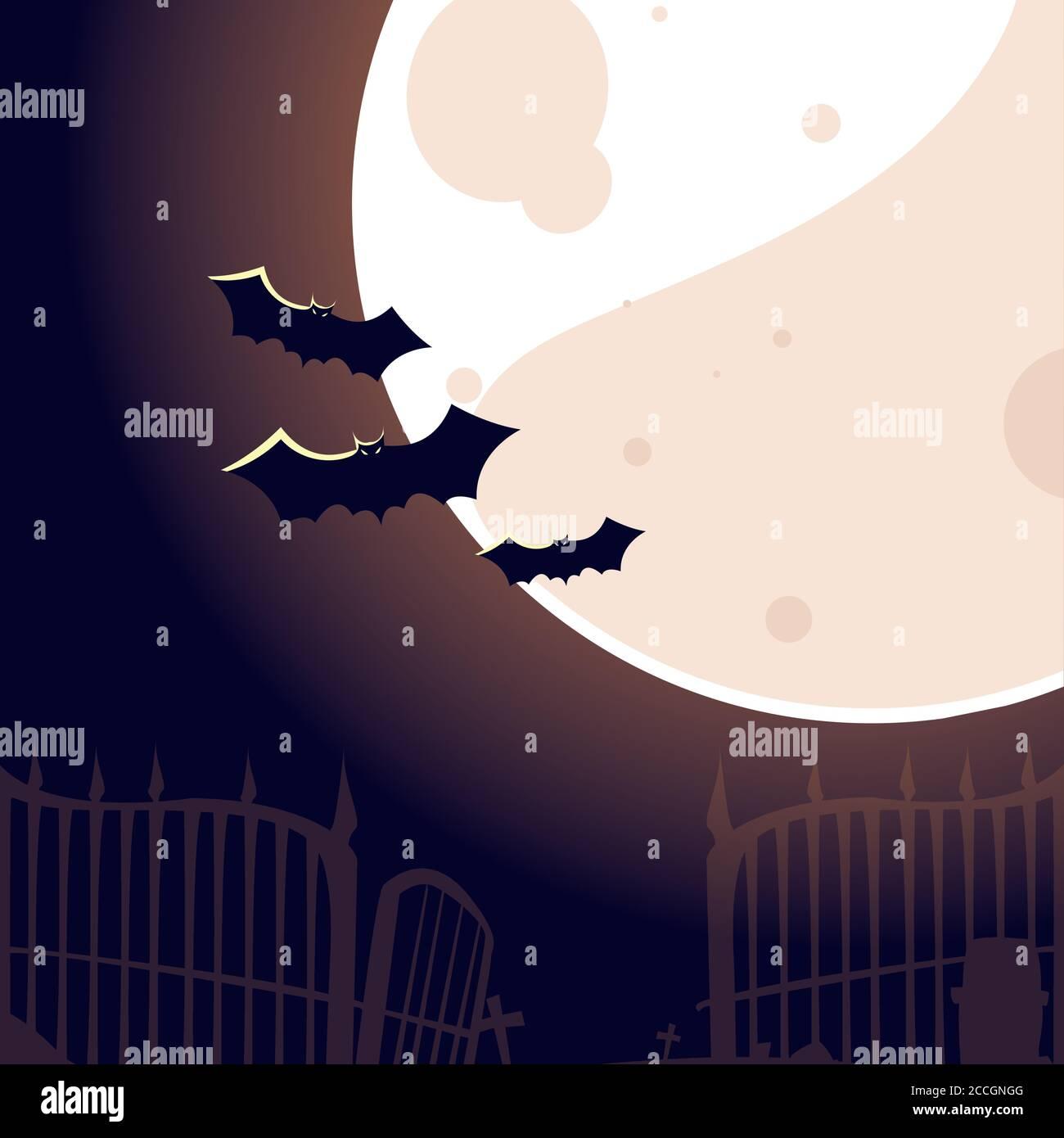 Halloween murciélagos en frente de la luna diseño, vacaciones y tema de miedo ilustración vectorial Ilustración del Vector