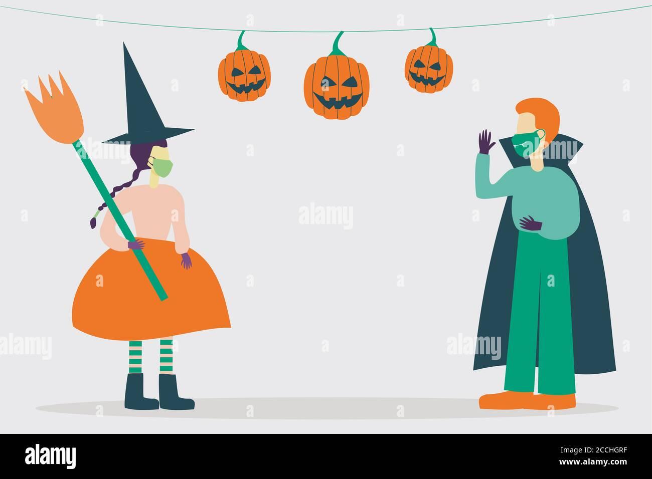 Ilustración de personajes de niños frescos con trajes de halloween y protector máscaras Foto de stock