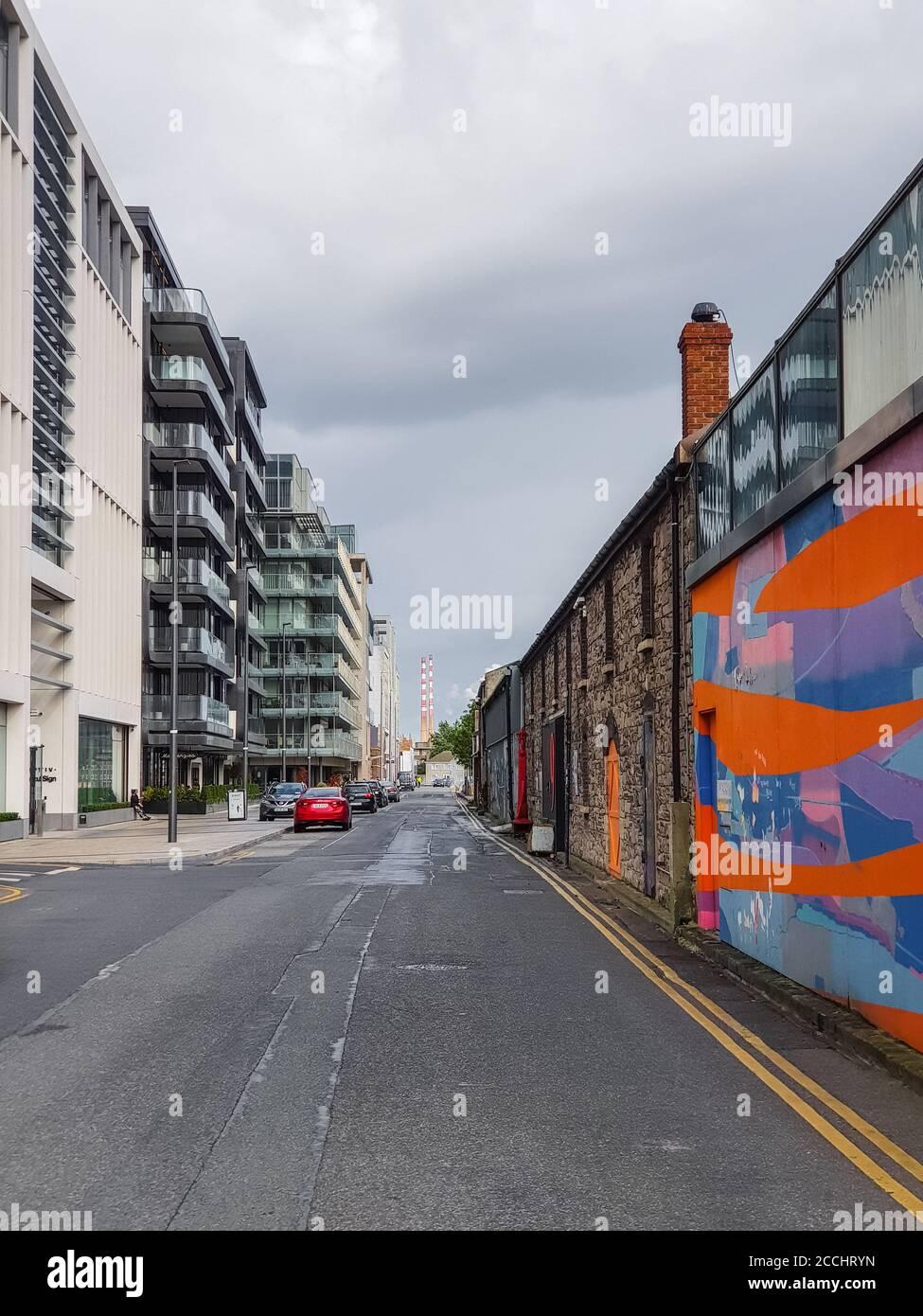 Ciudad de Dublín, chimeneas de Poolbeg Foto de stock