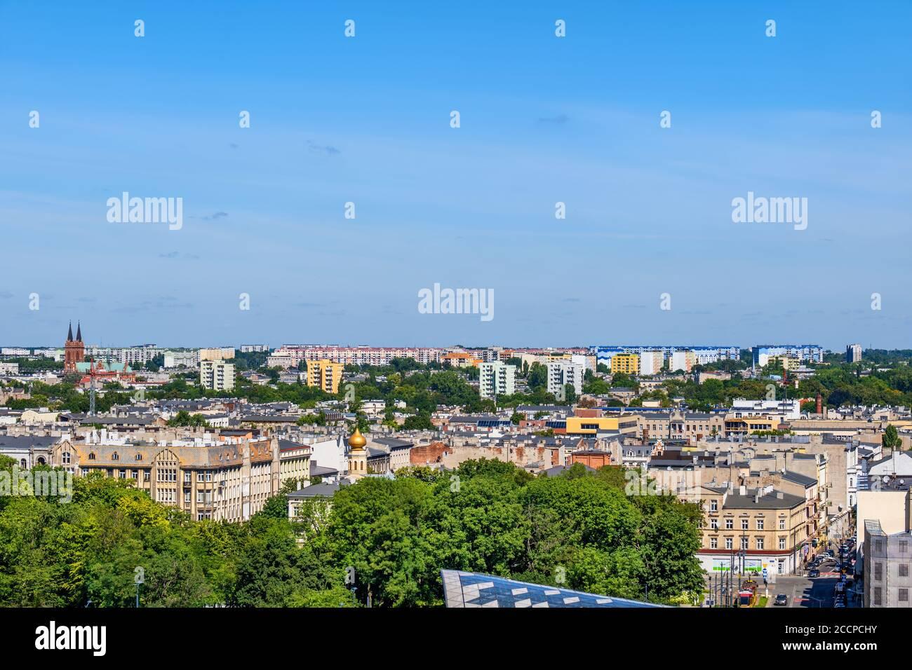 Ciudad de Lodz en Polonia, vista aérea paisaje urbano. Foto de stock