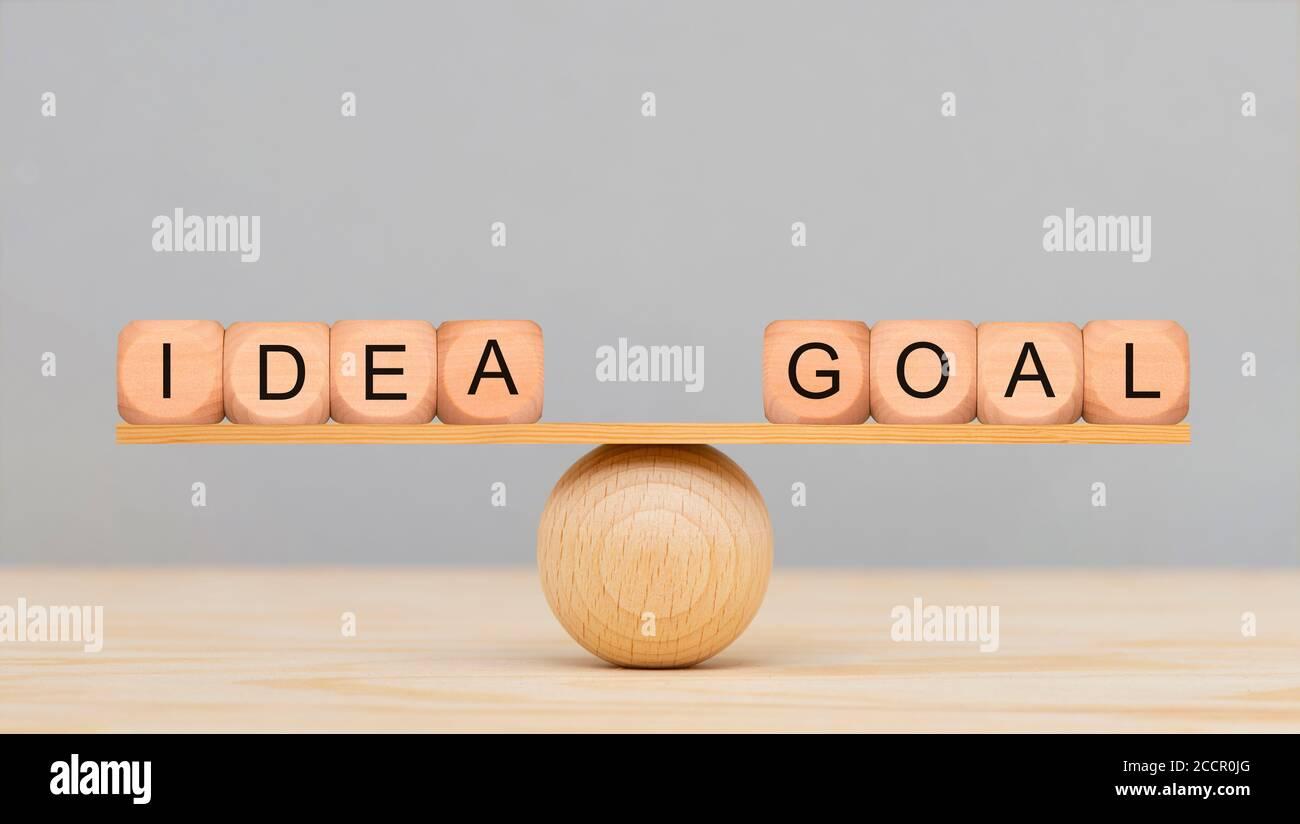 idea y meta en equilibrio sobre la pelota de madera Foto de stock