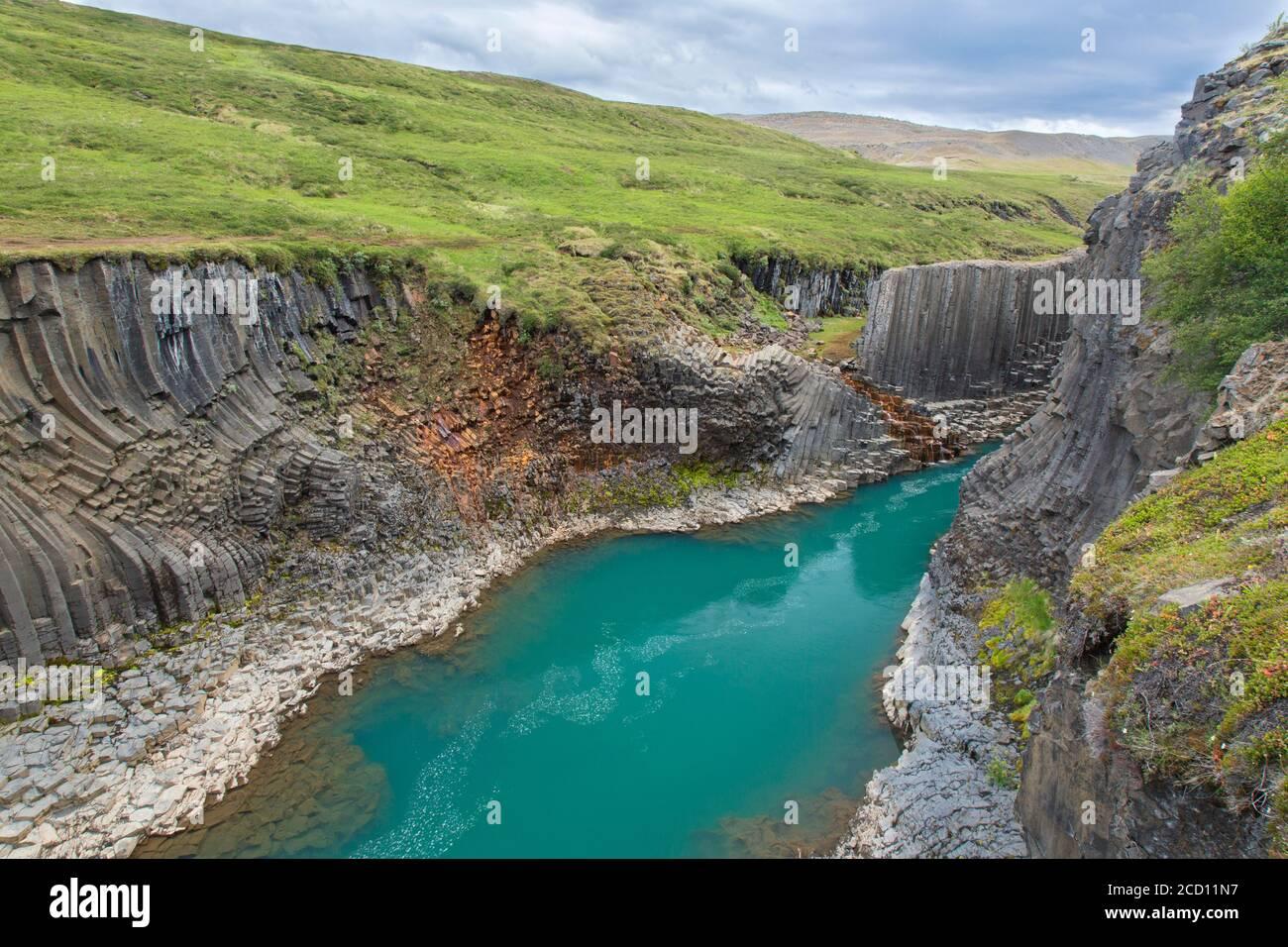 Río glaciar Jökla y columnas de basalto, formaciones rocosas volcánicas en Studlagil / Cañón Stuðlagil, Jökuldalur / Valle del Glaciar, Austrurland, Islandia Foto de stock