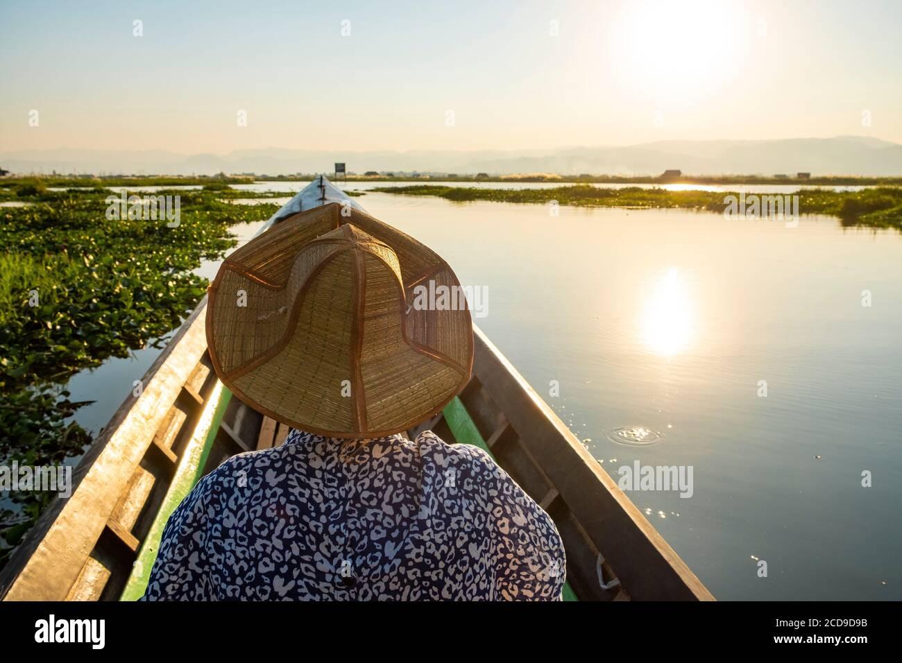 Myanmar (Birmania), Estado de Shan, Lago Inle, viaje en barco Foto de stock