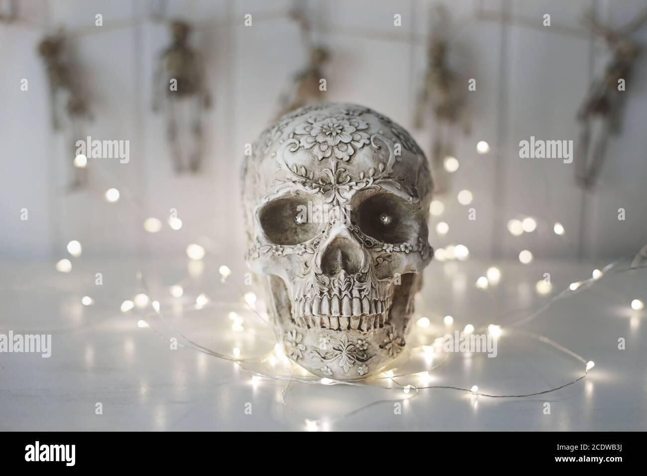 Cráneo de miedo con luces de fondo Foto de stock