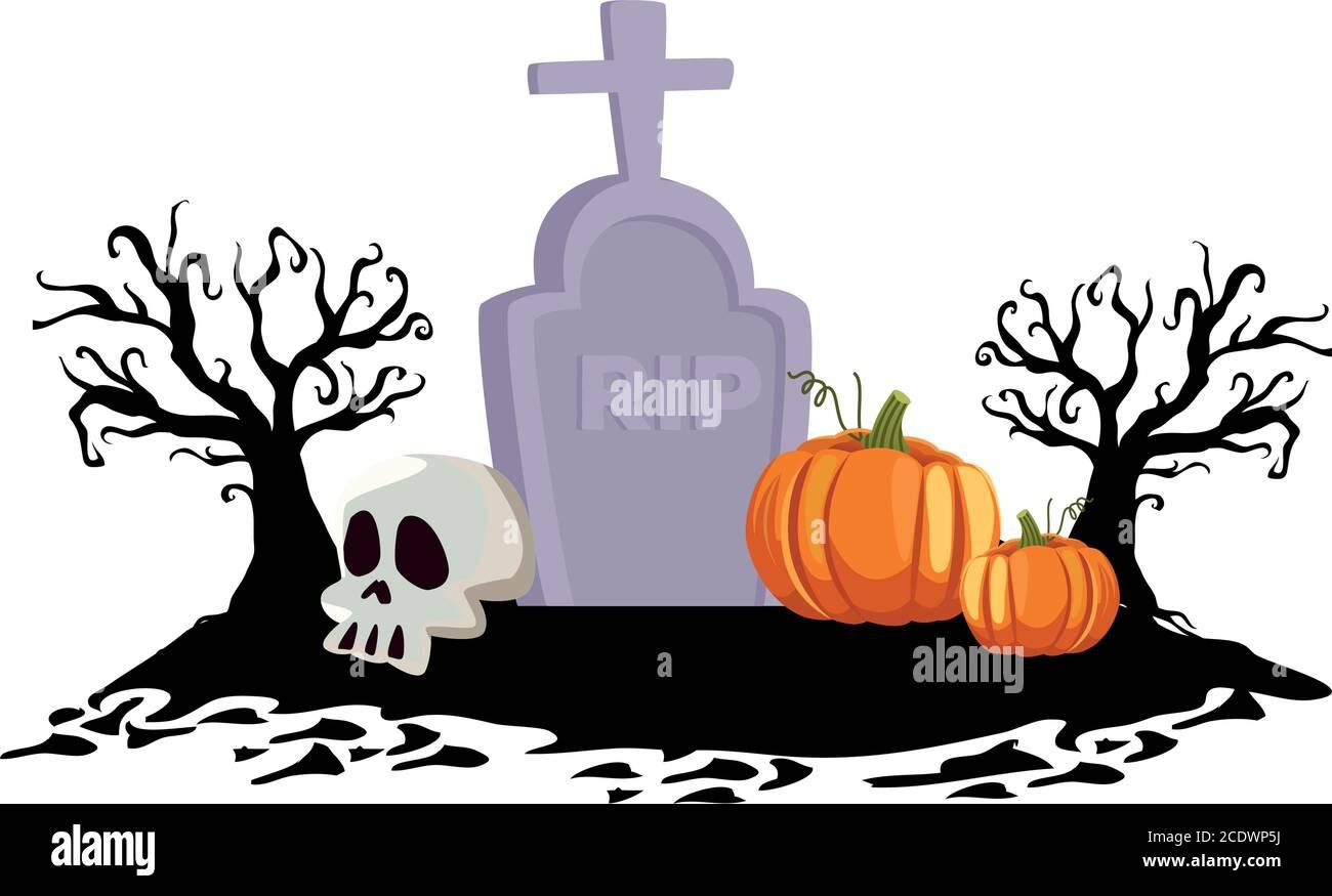 Halloween calabazas en el diseño del cementerio, vacaciones y tema de miedo ilustración vectorial Ilustración del Vector