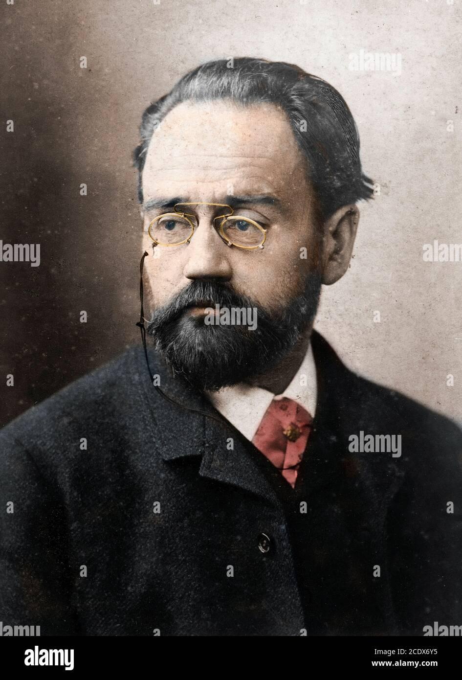 Retrato de Emile Zola (1840-1902) escritor francés - por Nadar Foto de stock